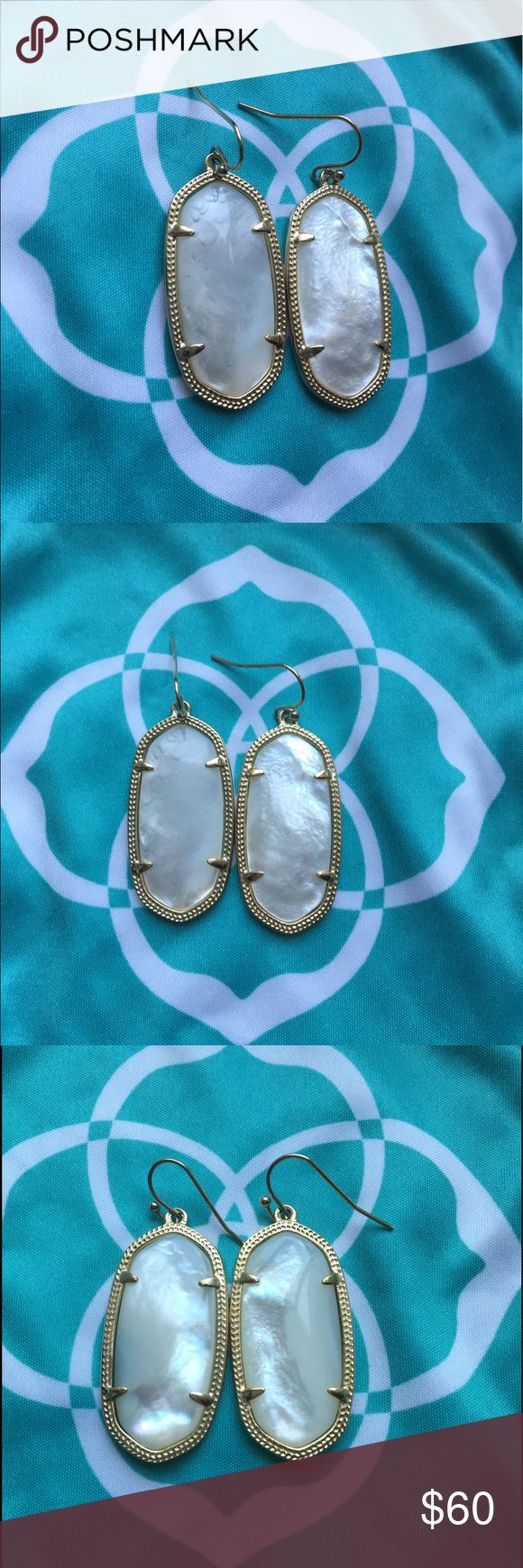 """Kendra scott Elle Earrings Kendra Scott """"Elle"""" earring in mother of pearl. Mother of pearl is a natural stone which causes variations in stone appearance, as seen in photos. Gold plated. Front and back of earring both pictured above. Does not come with dust bag. Price is firm! Kendra Scott Jewelry Earrings"""
