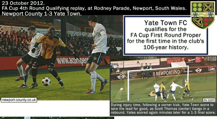 Newport Co 1 Yate Town 3 in Oct 2012 at Rodney Parade. Action from the FA Cup 4th Qualifying Round Replay.