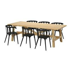 MÖCKELBY / IKEA PS 2012, Table and 6 chairs, oak, black