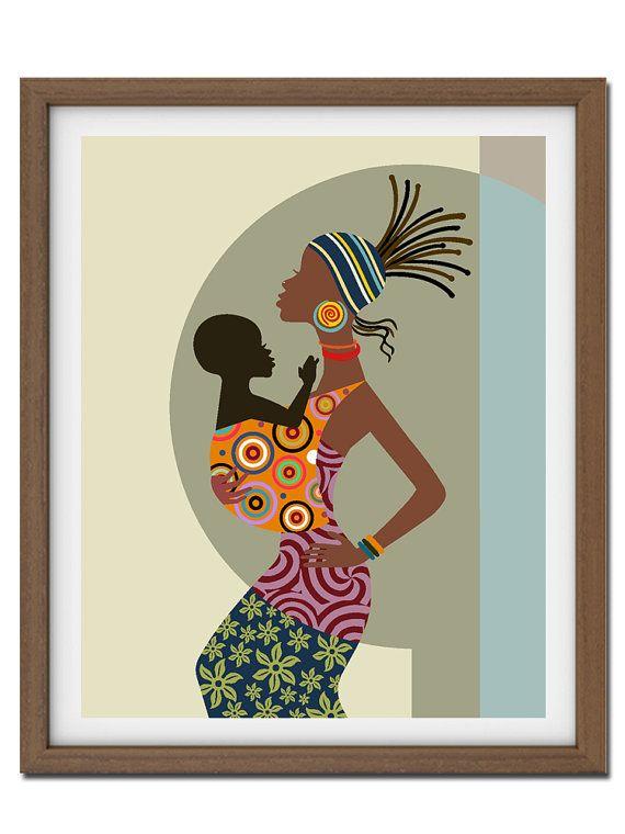 Madre y arte infantil, arte de madre y niño pintura, regalo de las madres, las mujeres africanas, arte afroamericano, cumpleaños de las madres
