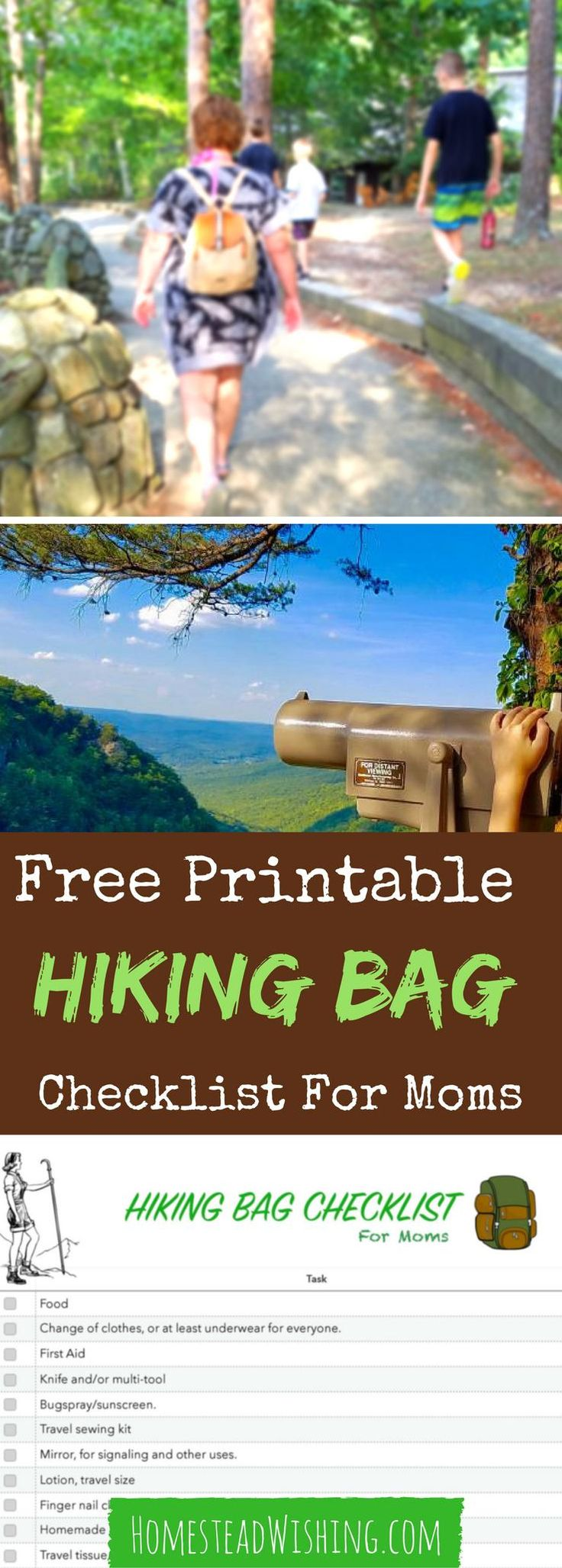 As moms we tend to overpack. That's okay when you are riding in a car, but not for a hike, even a short one. The backpack will dig into your shoulders possibly causing pain. Get my free printable checklist to make sure you have everything you need, for your little munchkins, but not too much! | Homestead Wishing, Author, Kristi Wheeler | http://homesteadwishing.com/hiking-bag-list/ | Hiking-bag-list
