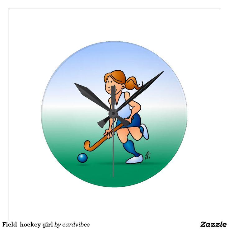 Field  hockey girl wall clock. #Zazzle #Cardvibes #Tekenaartje #NEW