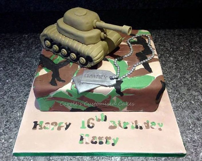 Army camouflage cake with Rice Krispie Treats tank and dog tags