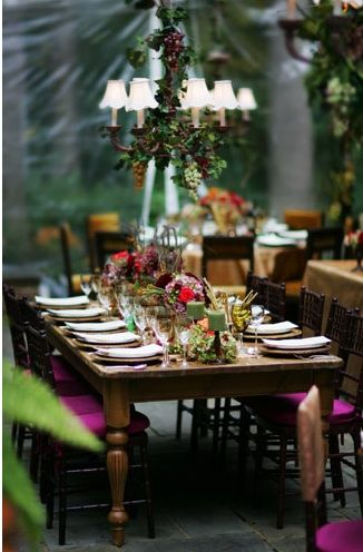Grape vines draped from the ceiling and a chandelier.