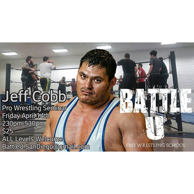 Join Today!  @jeffcobb seminar!  Battle U - Pro Wrestling School  Imperial Beach | San Diego,Ca  Contact | Info | Questions |  BattleU.SanDiego@gmail.com  #FinestCityWrestling #FCW #BattleU #TheCrash #SanDiego #ImperialBeach #ProWrestling #LuchaLibre #Lucha #Wrestling #StrongStyle #LuchaUnderground #PWG #NJPW #CZW #BulletClub #ROH #RingOfHonor #TNA #WWE #NXT #205Live #Raw #SmackDownLive #619 #760 #858 #ChulaVista #imperialbeachlocals #sandiegoconnection #sdlocals #iblocals - posted by Finest…