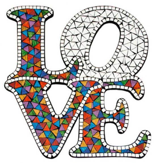 Mirrored Mosaic  LOVE  Wall Hanging 32cm Multicoloured Decor Sign NEW 30% OFF