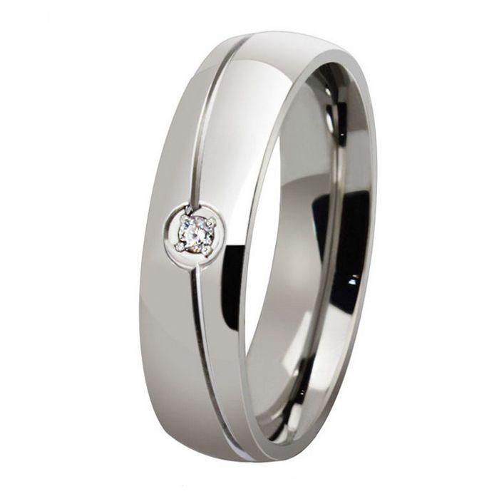 ORSA 2015 Мужчины и Женщины Свадьба Обручальное Кольцо Полированный Титана Стали Циркон Кольца OTR32