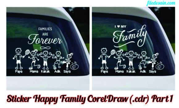 Download File CorelDraw Sticker Happy Family Part1