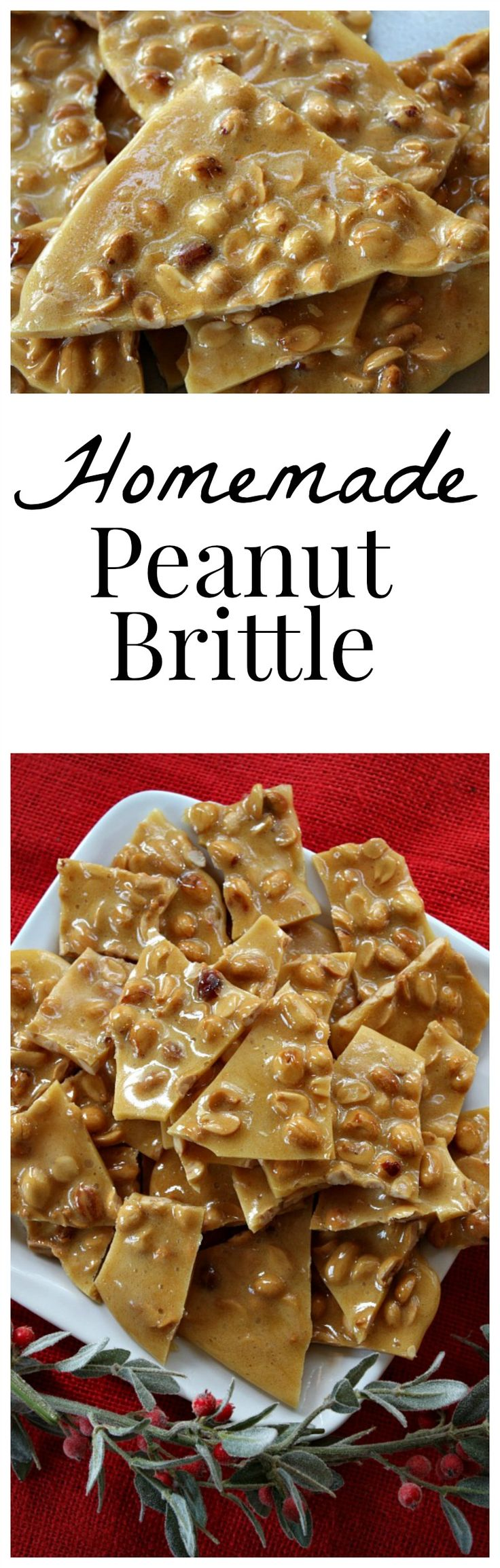 Easy Homemade Peanut Brittle Recipe : from RecipeGirl.com : perfect recipe for the holidays.  Simple instructions and a How-To video included.