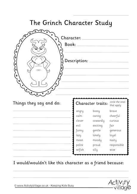 Grinch Character Study Worksheet