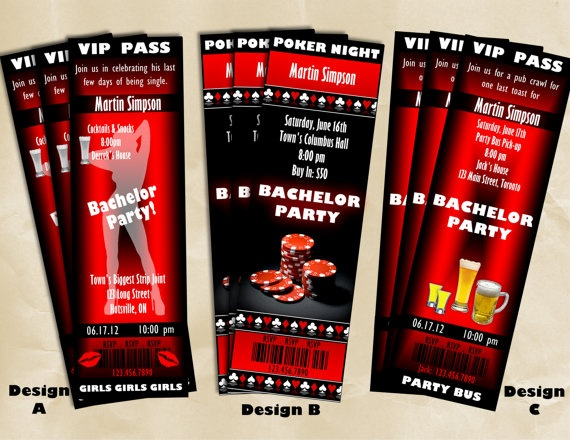 Printable Bachelor Party Stag Ticket Style Invitations Customized