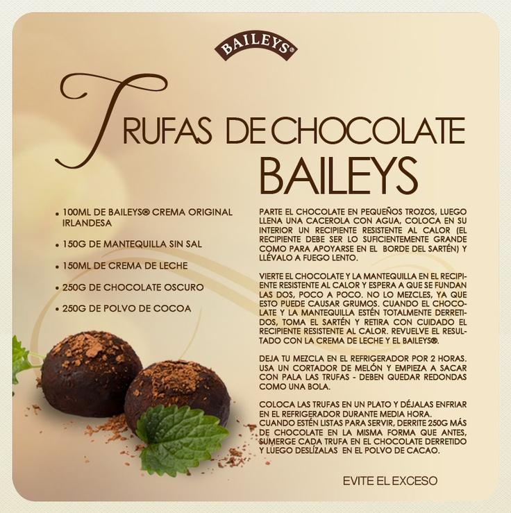 Trufas de Chocolate Baileys #recipes
