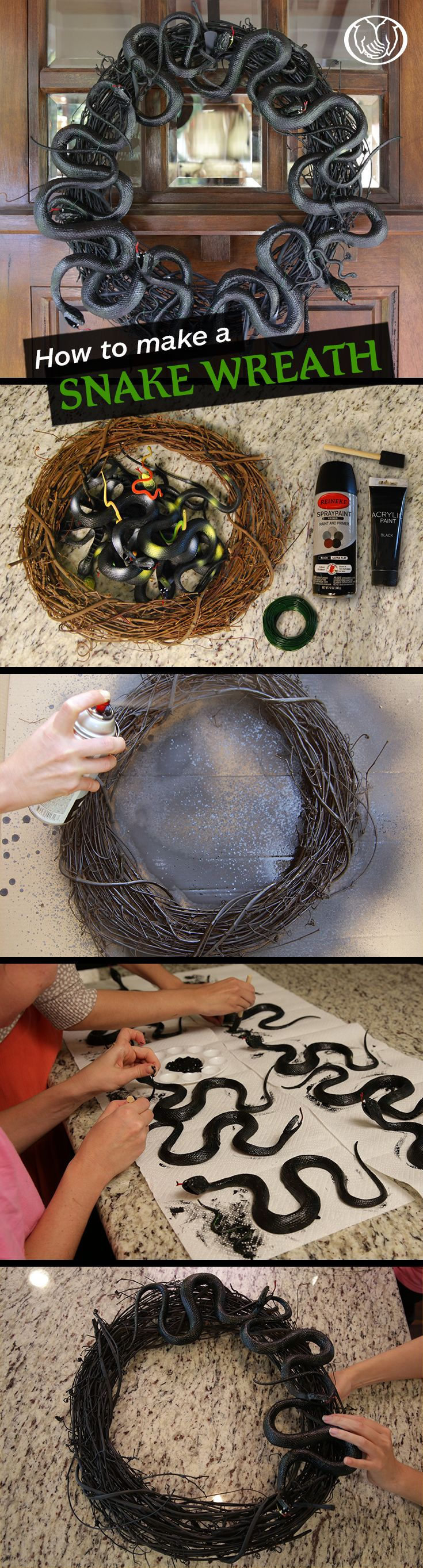 How to Make a Black Snake Wreath   Excited to decorate for your 1st Halloween?…