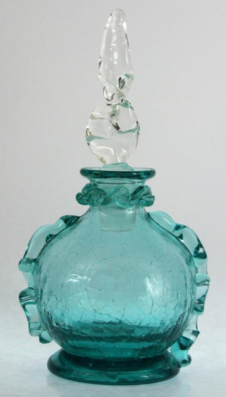 VINTAGE BLOWN CRACKLE GLASS PERFUME BOTTLE APPLIED MOLTEN DETAILS BLENKO? BLUE
