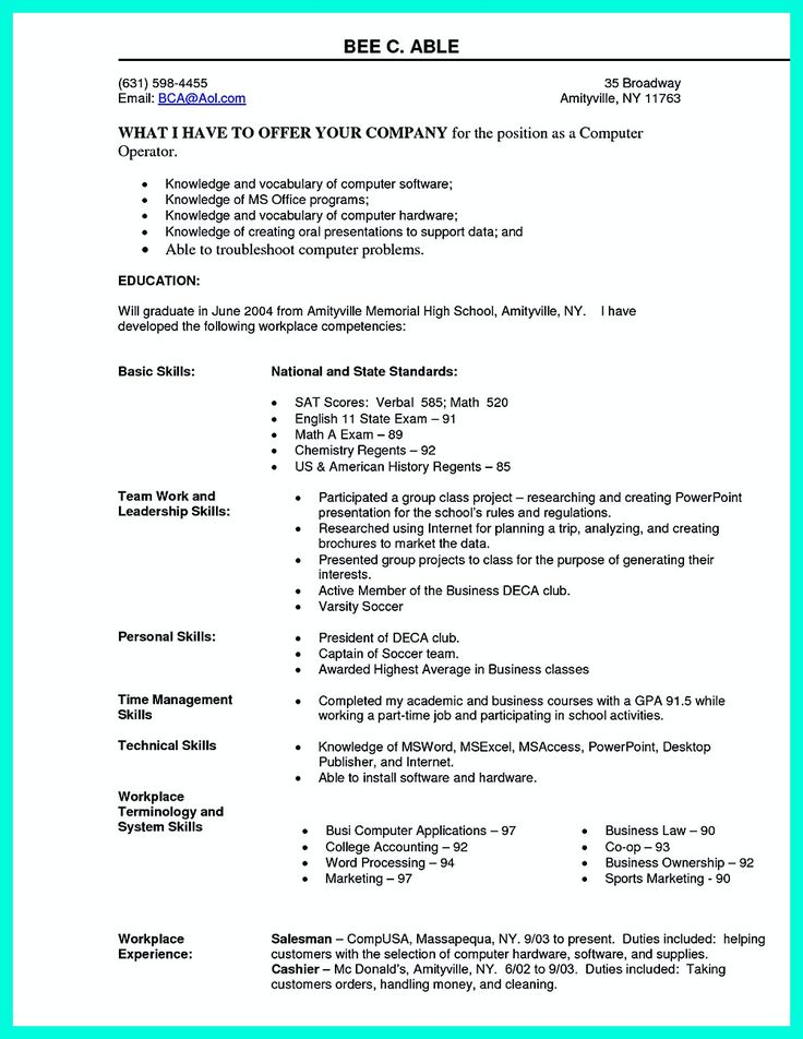 2695 best Resume Sample Template And Format images on Pinterest - computer science resume objective
