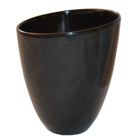 Taza sin asa de porcelana Negra modelo latino