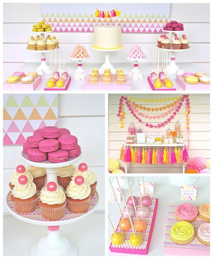 Modern Pink + Yellow 13th Birthday Party via Kara's Party Ideas   Cake, decor, printables, tutorials, recipes and more! KarasPartyIdeas.com (2)