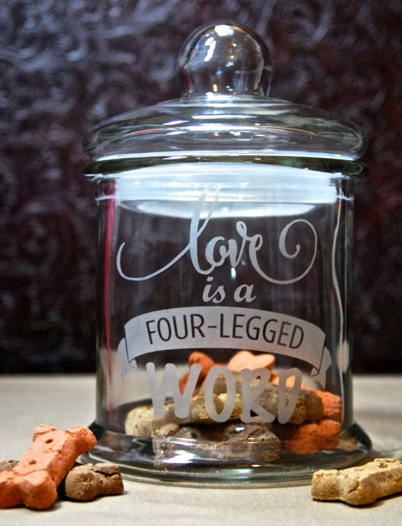 Glass Etched Dog Treat Jar Love is a Four by MyDaileyCreations