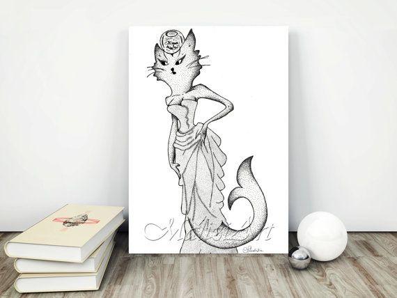 Gatto Sirena Art Decorazione Originale Home Decor di MaliziArt