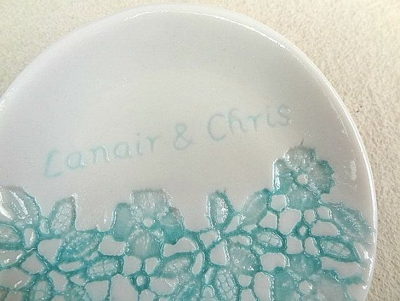 Personalised ring dish. Hand engraved by SpringwoodPorcelain