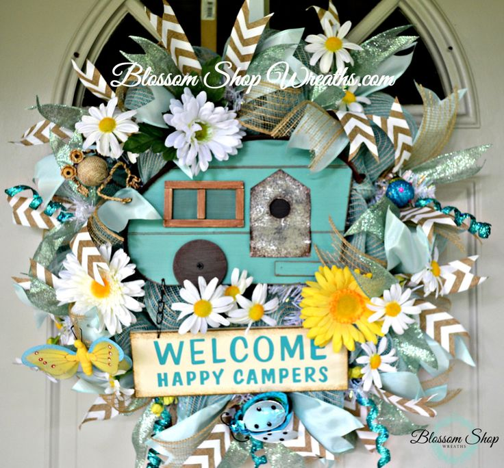 Deco Mesh Wreath, Camping Wreath, Door Wreath, Sports Wreath, Door Decor, Happy Camper Wreath by BlossomShopWreaths on Etsy
