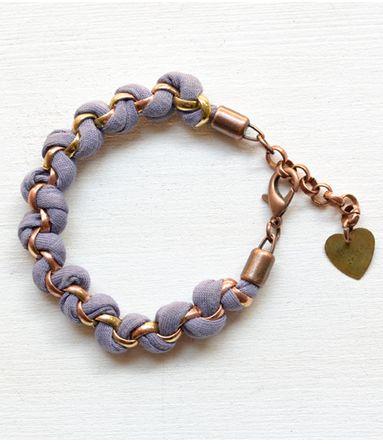 Geflochtenes Jersey Armband Mauve mit Herz