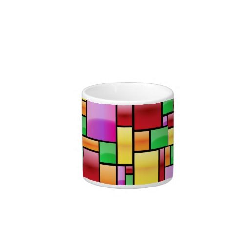 Bright Modern Abstract Rectangle Pattern Espresso Cup - This beautiful, bright and colorful mug shows depth and shine on each of the squares, it has almost a stained glass look. It is vibrant, energetic and happy. Buy it for yourself because it suits your persnality or give it to a friend as a birthday or Christmas gift who has these wonderful qualities within themselves!
