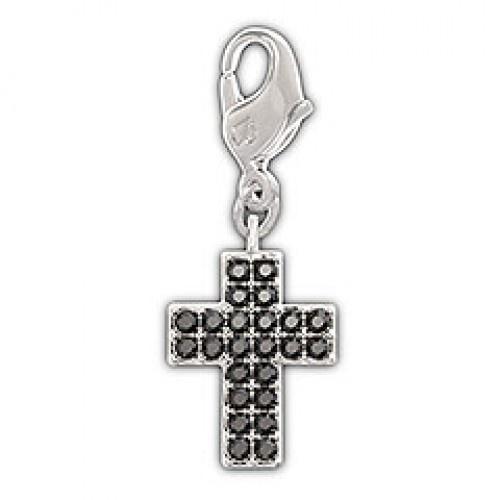 Swarovski Black cross charm