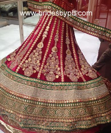 Maroon and green bridal lehenga customised by www.bridesbypb.com