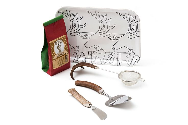 Swedish Breakfast Bundle - Start your morning off right, the Swedish way. Sip on some cloudberry tea and enjoy your food using these exquisite reindeer utensils. All served on an adorable reindeer tray. Setting an alarm for tomorrow morning doesn't sound so bad after all.