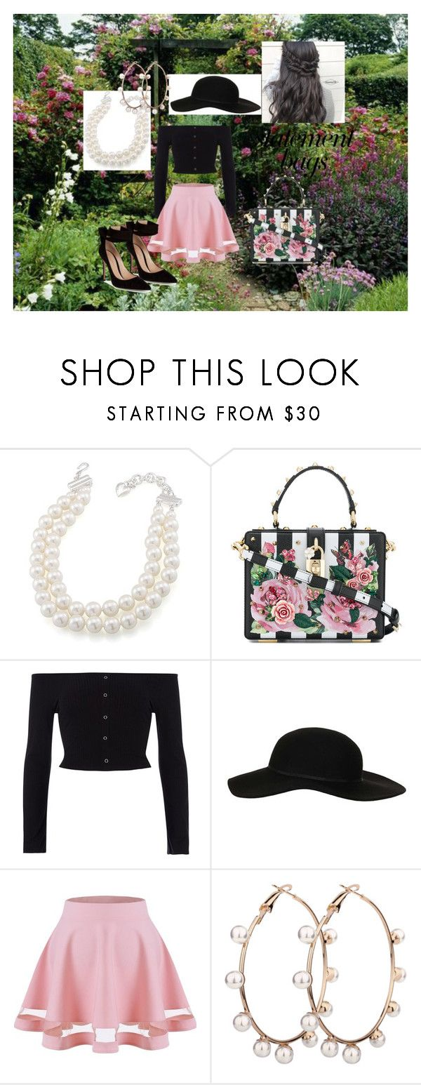 """""""Garden Statement Bag"""" by outfit-creator ❤ liked on Polyvore featuring Carolee, Dolce&Gabbana, River Island, Topshop, Gianvito Rossi and statementbags"""