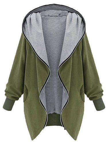 Minetom Damen Frauen Hoodie Kapuzen Parka Herbst Frauen Oversize Parka Hooded Zipper Jacke Cardigan Blazer Mantel Outwear Schwarz Grün (Grün EU M)
