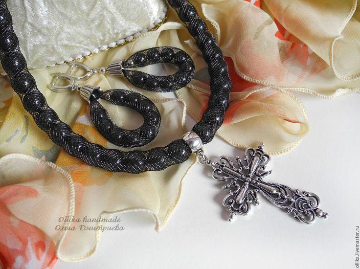 Купить Крест Ажурный черное колье ювелирная сетка - крестик на цепочке, цепочка с крестом