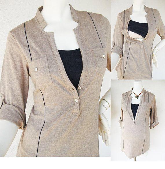 MEL Nursing Shirt /  Maternity Clothes / Nursing Top / Breastfeeding Top / NEW Original Design MOCHA / Nursing Tops for Breastfeeding