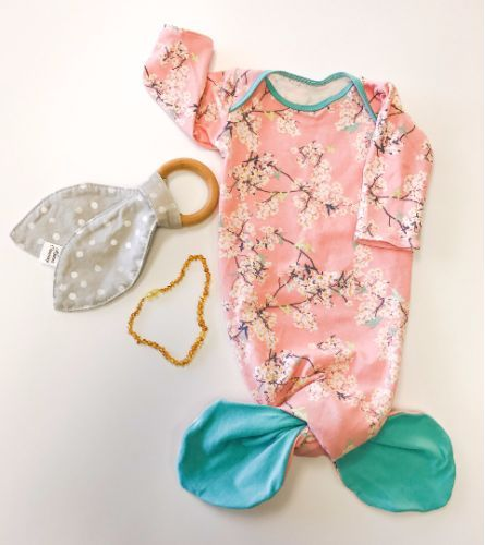 CHERRY BLOSSOM SLEEPER GOWN - 0-3 MONTHS created by KAITER CLOTHING