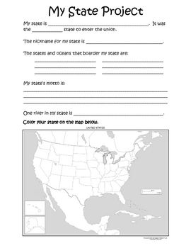 From BEACHY TEACH - FREE Students use their research skills to find information about their chosen state. Students learn about the state's location, population, Native American tribes in that state, and many other exciting facts. This is a great way to assess how well your students can research independently.