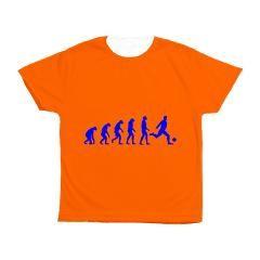 Oranje Kinder T-shirt met Koningsblauwe voetbalprint. Beschikbaar in diverse maten, kleuren T-shirts en soorten prints.