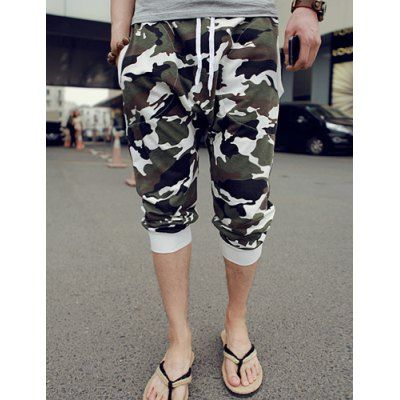 Loose Fit Trendy Lace-Up Camo Print Rib Splicing Beam Feet Cotton Blend Capri Pants For Men-14.04 and Free Shipping| GearBest.com