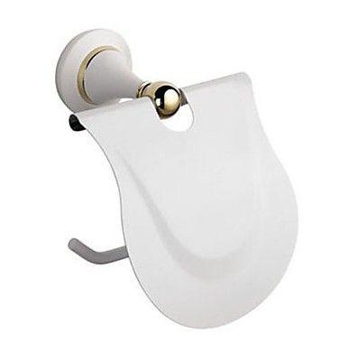 Твердой латуни ванной держатель туалетной бумаги металл туалет аксессуары для ванной комнаты белой отделкой