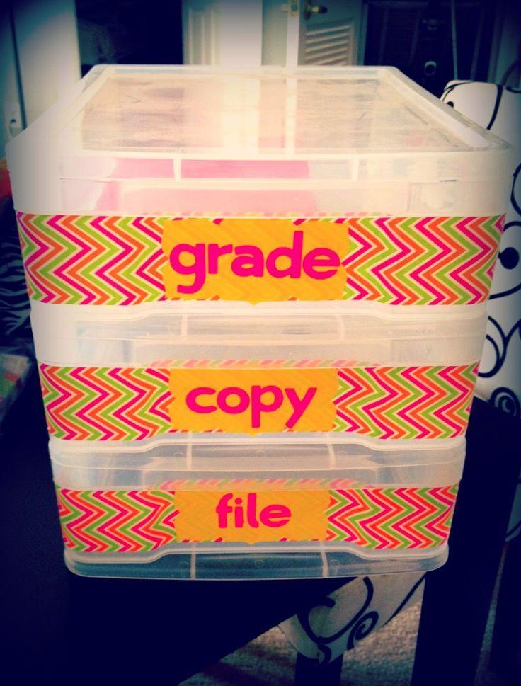 Grade Copy File Tubs to organize the classroom