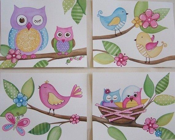 Owls birds wall art baby nursery kids line set four 8x10 prints via Etsy