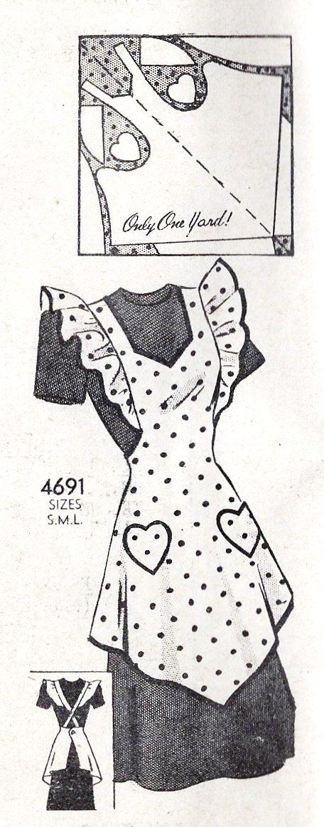 1940s Misses Full Apron with Heart Pockets Vintage Sewing Pattern, Anne Adams 4691 bust 32 to 34""