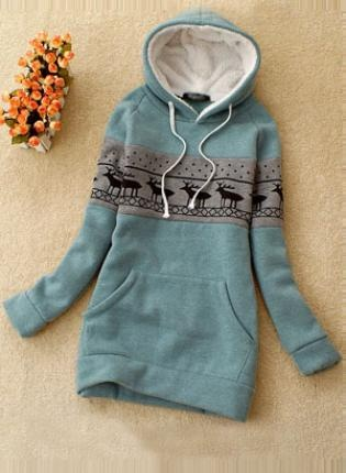 Green Deer Pullover Hooded Sweatshirt S002691,  Outerwear, Green Deer Pullover Hooded Sweatshirt, Chic: Day Outfits, Clothing, Green Deer, Christmas Sweaters, Pullover Hoods, Deer Pullover, Hooded Sweatshirts, Cozy Sweaters, Hoods Sweatshirts
