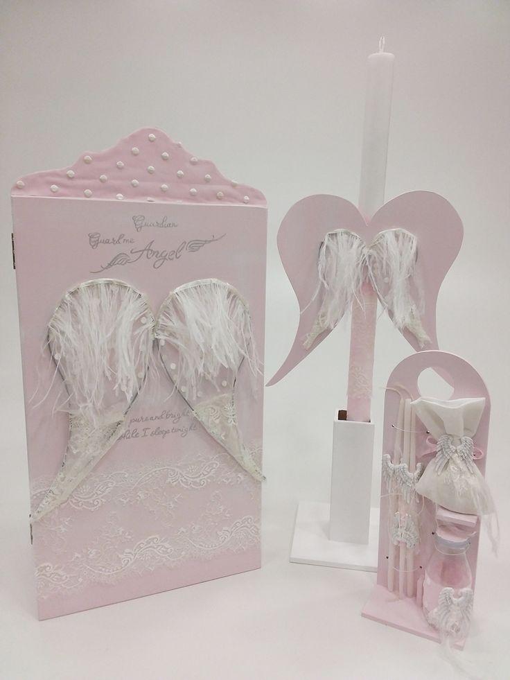 βαπτιστικό κουτί ντουλάπα ροζ με φτερά αγγέλου
