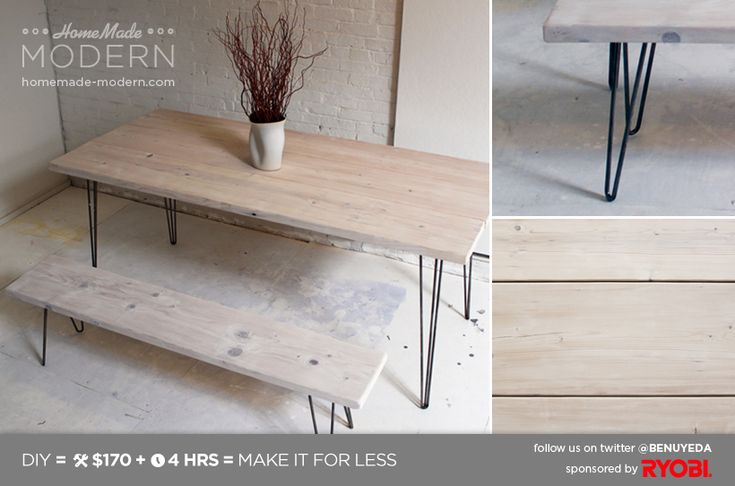 HomeMade Modern DIY EP3.1 White Washed 2x12 Table with Hairpin Legs Postcard