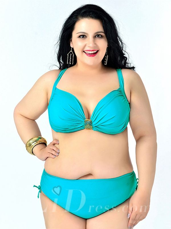 Lake Green Solid Color High Flexibility Sexy Halter Plus Size Bikini With Widening And Thickening Lidyy1605241074