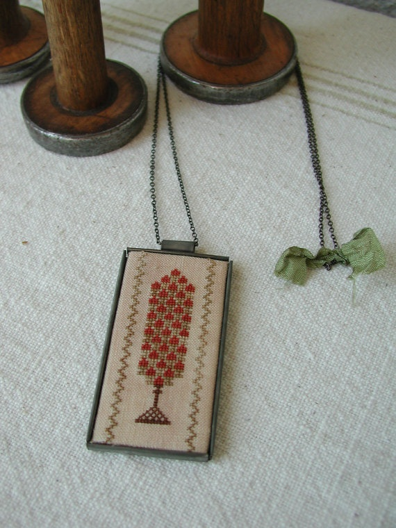 Cross Stitch Tin Pendant Necklace on Etsy, $37.00