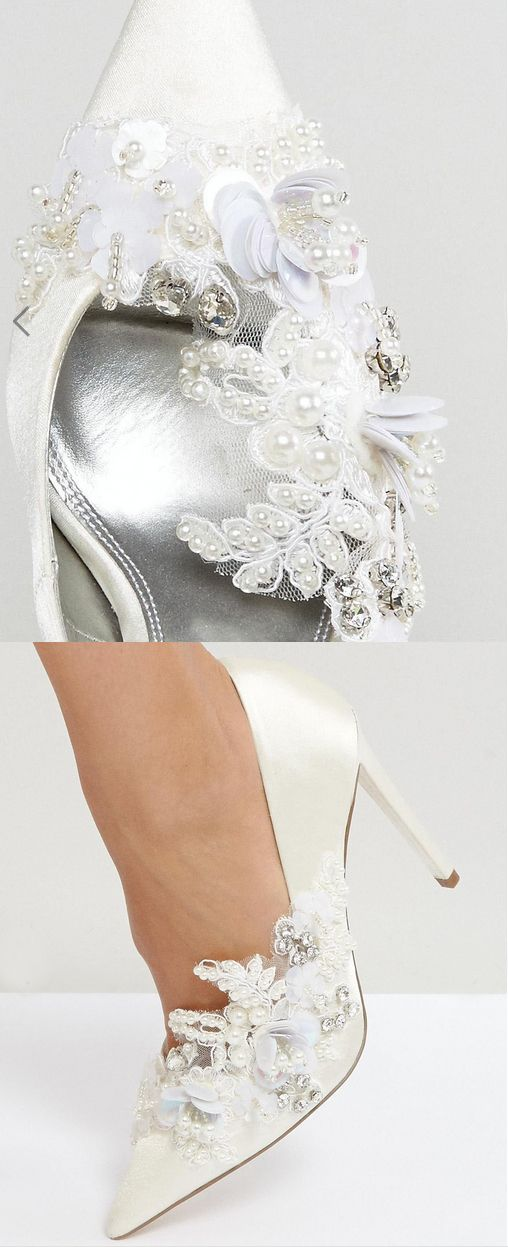 PAVLOVA Embellished High Heels £45.00 Bridal Shoes. If you want something sexy and couture looking for your bridal shoes, but don't want to spend the earth on shoes to wear one day, then these corded lace, sequin, and crystal embellished shoes from ASOS maybe the solution. #bridalshoes #weddingshoes #bride #weddings #shoes #couture #bridalaccessories #affiliatelink #shoesday
