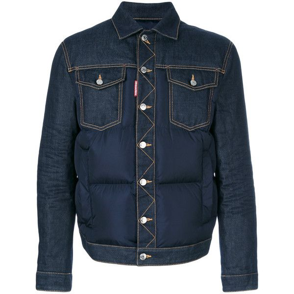 Dsquared2 padded denim jacket ($1,170) ❤ liked on Polyvore featuring men's fashion, men's clothing, men's outerwear, men's jackets, blue, mens padded jacket and mens urban jackets