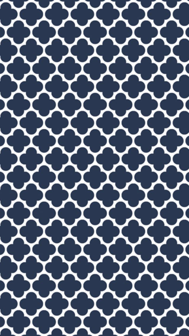 Navy blue and white quatrefoil iphone wallpaper